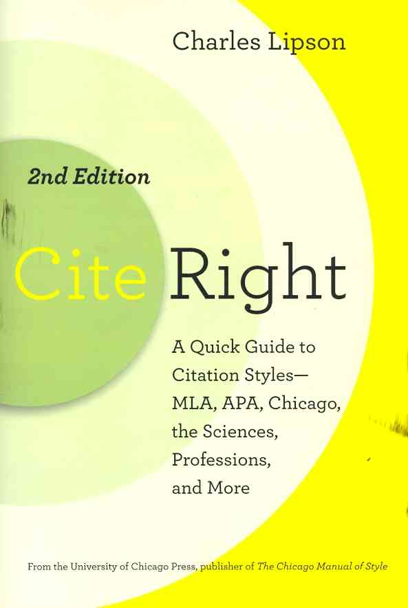 Cite Right By Lipson, Charles